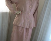 Vintage 1940s Style 3 Piece Suit Size M/L 10-12-14 Flax Designer 100% Linen Dusty Pink Mauve Like Brand New Peplum Jacket Great Deal