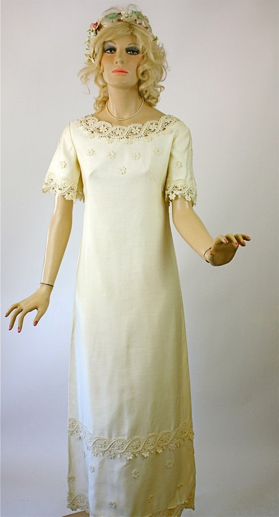 Vintage 60s wedding dress simple elegance ivory cotton linen for Simple cotton wedding dress