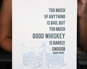 Whiskey Letterpress Poster Art Print