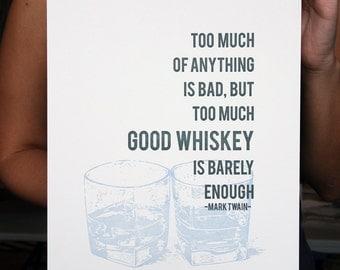 Whiskey Letterpress Poster Art Print