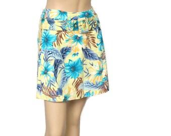 Skirt 1980's Skirt Vintage Floral Hip Hugger Skirt Tropical Print Skirt Belted Hippie Beachy Island Mini Skirt Size Small