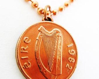 1982 Authentic IRISH 1 PENNY 1982 Irish Coin Necklace-Ireland Jewelry