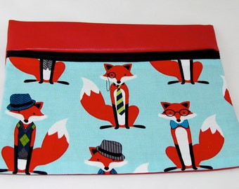 CLUTCH - What Does The Fox Wear? (Pleather/ Cotton) **handmade**Kindle**iPad mini** Case**