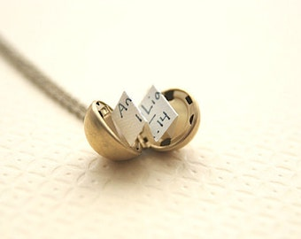 Bridesmaid Jewelry Personalized Locket Necklace  Secret Message Locket Necklace  Wedding Party Gifts
