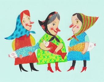 Grandma- Original pastel drawing- kids art- wall art -happy drawings- fun art