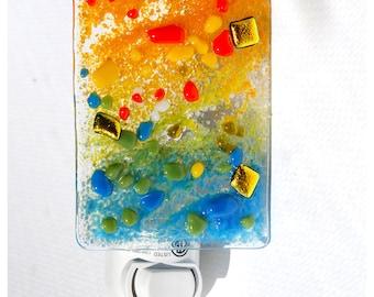 Glass Night light, Fused glass, nightlight, wall light, Orange Yellow Green Blue