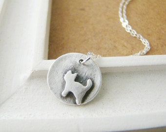 Petite cat art clay fine silver necklace, bridesmaid gift, for wife, teenage daughter, wedding gift, graduation gift, eco friendly
