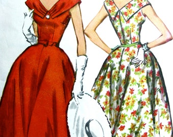 UNCUT 1950s Vintage McCalls Pattern 4433 - BEAUTIFUL Full Skirt Cocktail Party Off Shoulder Dress with V-Neckline // Size 16 Bust 36