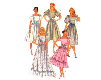 1980s Romantic Dress Pattern Ruffles Puff Sleeves Square Neckline Country Prom Peasant Dress McCalls 8495 Bust 34 Vintage Sewing Pattern