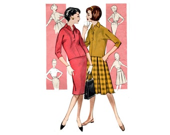 1960s Easy Skirts And Top Pattern Coordinates Pleated or Slim Skirt Kimono Sleeve Pullover Top Butterick 9108 Bust 32 Vintage Sewing Pattern