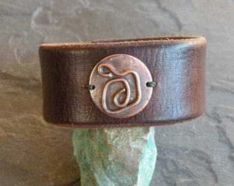 Leather Bracelet with Copper Medallion Handcrafted One of a Kind Artisan Jewelry Wide Leather Cuff Bracelet Boho Jewelry