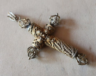 Large Antique Spanish Colonial Cannetille Cross Pendant / Full Filigree Gilt Georgian Pectoral Cross