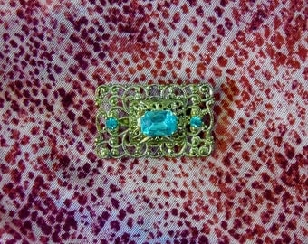 Vintage Open Worked Intricate Blue Rhinestone Brooch