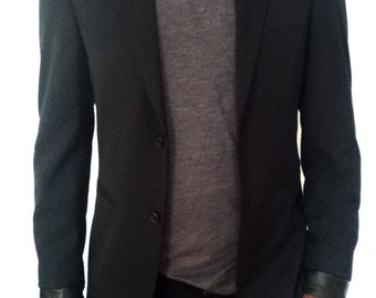 Black jacket with Leather collar trim and cuff/ black blazer.