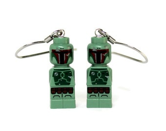 Boba Fett Earrings made from Genuine Star Wars LEGO (r) Microfigs - LIMITED
