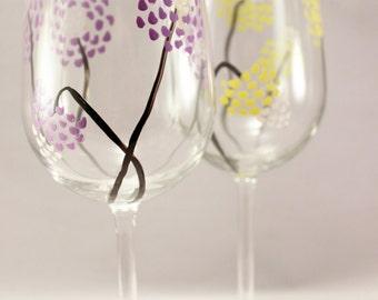 Modern flowers, hand painted wine glasses, painted glassware, painted flower glasses, set of 2