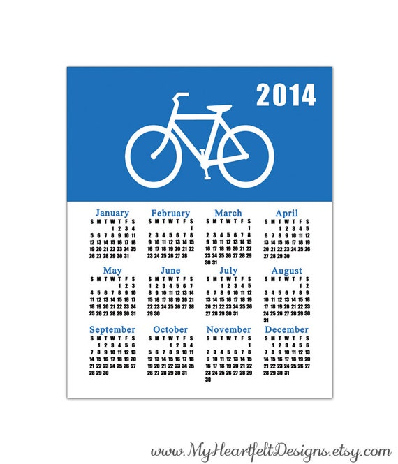 Blue/White Bike Calendar