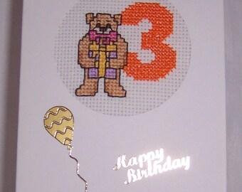 AGE 3 Teddy Bear Cross Stitch Birthday Card,Cross Stitch Card,Childrens cross stitch,teddy bear cross stitch