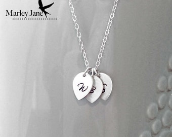 Small Sterling Silver Leaf Initials Necklace- Never Leave me- Silver Initials, children, husband