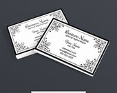 Business Card Designs - Business Card Design - Printable -  Black and White - Elegant PS3