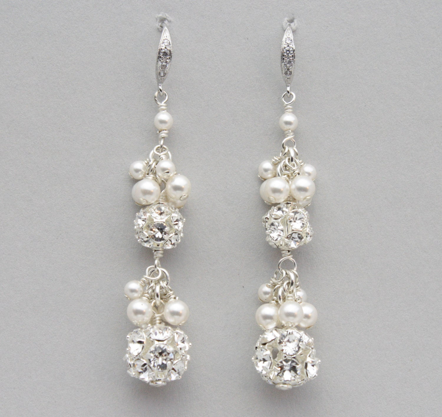 Rhinestone And Pearl Cluster Earrings Long Pearl Bridal