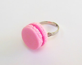 polymer clay pink strawberry french macaron ring
