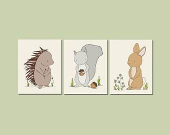Woodland Nursery Art -- Woodland Animal Art -- Set of 3 Prints -- Woodland Nursery Decor -- Bunny Porcupine Squirrel -- Kids Wall Art