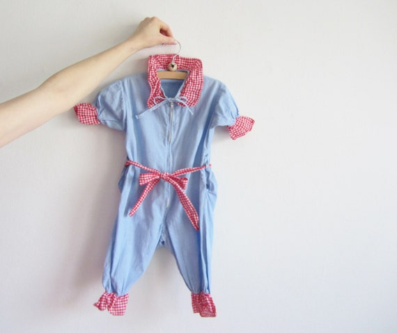 1960 baby clown romper onesie . denim and gingham .sale s a l e .disaster relief