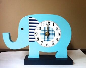 elephant nursery nursery decor wooden elephant desk clock elephant clock wooden clock children's clock desk clock aqua and navy