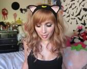 Black Moon Kitty Headband Ear Warmer