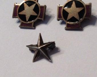 Star Military Pins Sterling Silver Purple Black Enamel