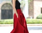 Wrap skirt,  women skirts,  linen skirt,  long skirt, high waisted skirt, swing skirt, linen clothing, red skirt, flowy maxi skirt (1025)