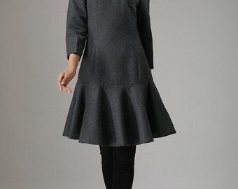Gray dress  wool dress mini women dress (746)