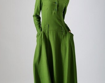 casual dresses, green dress, green maxi dress, Linen dress, long sleeve dress, Maxi dress, women dresses, long dress, ladies dresses 784
