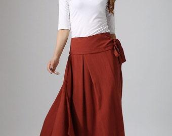 maxi skirt long,red skirt, wrap skirt, custom skirt, handmade skirt, linen skirt, maxi skirt,spring skirt, summer skirt  (908)