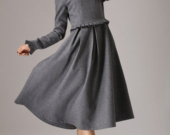 Gray dress, maxi dress, long sleeves dress, wool dress, plus size dress, womens dresses, made to order, ruffle dress, winter dress764