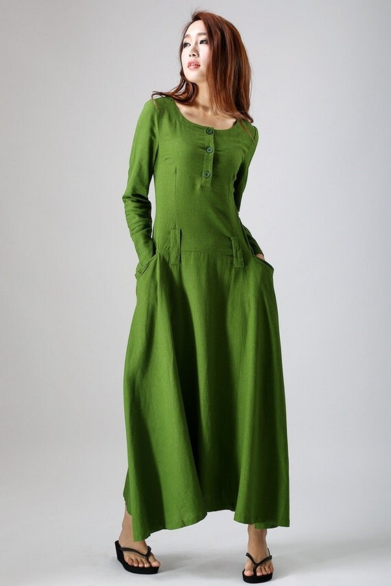 green dress, Leaf green dress, Linen dress, long sleeve dress, Maxi dress, women dresses, spring dress,  cusotm dress, long dress 784