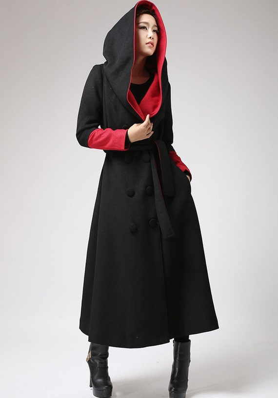 oversized coat, Black and Red, Long wool coat, trench coat,long coat women, coat with hood, designer clothing, wool jacket, gift 700