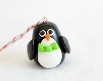 Handmade Polymer Clay Penguin Ornament