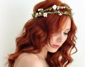 Floral crown, pink bridal wreath, boho wedding crown, flower headpiece, wedding hair accessories