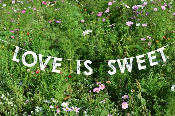 Love is sweet custom colour wedding banner