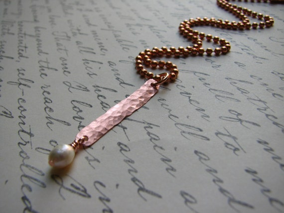 Hammered Metal and Freshwater Pearl Exclamation Point Necklace - Exclaim