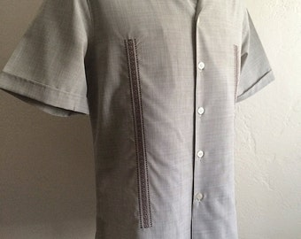 Vintage Men's 80's Shirt, Tan, Button Up, Short Sleeve by D'Accord (L)