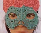 Abstract Pink Rose Calavera lace mask