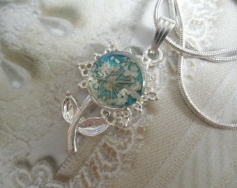 Queen Anne's Lace Flower Shaped Pressed Flower Pendant Atop Glowing Turquoise-Gifts Under 25-Nature's Wearable Art-Symbolizes Peace