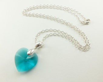 Turquoise Heart Necklace Blue Green Necklace Turquoise Necklace Sterling Silver