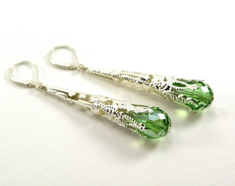Peridot Earrings Sterling Silver Long Dangle Earrings Victorian Filigree August Birthstone