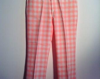 Men's Polyester Slacks by Izod.  Shrimp & White Checked. Made in USA.  Vintage New old stock