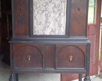 China Cabinet Primitive Hutch Vintage Poppy Cottage Painted Furniture