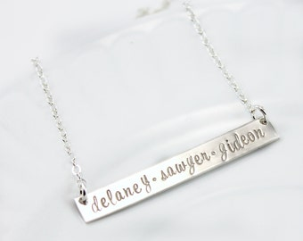bar necklace, bar necklace sterling silver, bar necklace personalized, christmas gift, gift for women, mom jewelry, kids name personalized